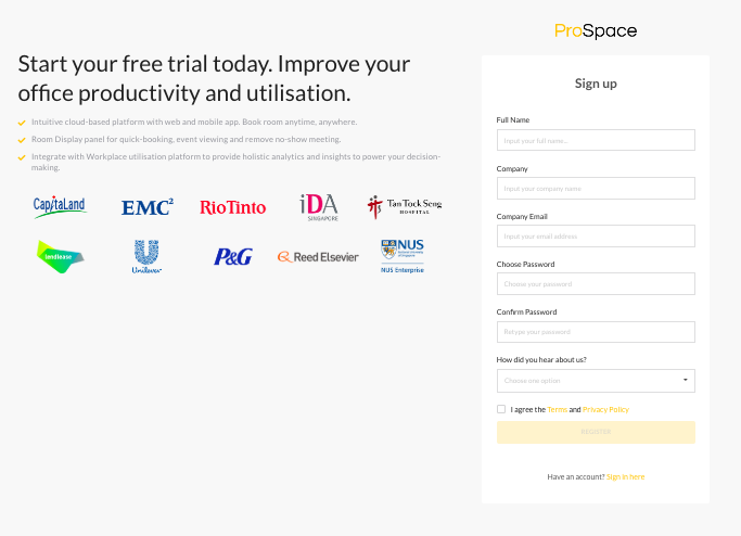 prospace sign up page